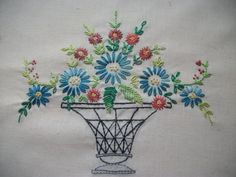 Hayfield Cottage: Embroidery, Stash and New Cat Tattoo Hand Embroidery Design Patterns, Hand Embroidery Flowers, Embroidery Transfers, Vintage Embroidery, Embroidery Applique, Embroidery Stitches, Cherry Blossom Drawing, Lazy Daisy Stitch, Stitch Book