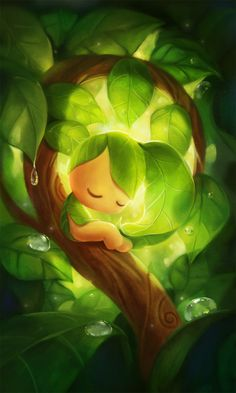 Sleeping Leafie by *yangtianli on deviantART