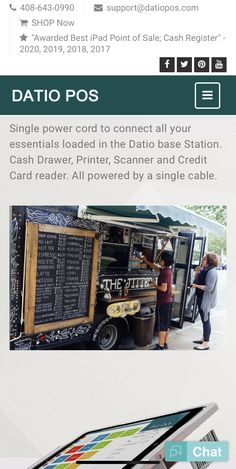 Datio POS is the best Cash register and Point of Sale for Food Trucks. Take Orders on the Go with mobile It is simple to setup and easy to use. Credit Card Readers, Best Ipad, Point Of Sale, Cash Register, Pos, Food Truck, Customer Service, Printer, Trucks