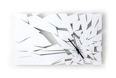 Icebreaker - White acrylic, laser cut, hanging wall clock from the Breaktime range