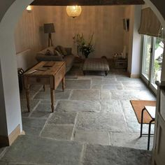 Antique reclaimed York stone flooring for interiors. Refined and smoother selection for inside use with underfloor heating. Sizes from 300 x to 700 x 1300 x 30 mm thickness. - click now for info. Flagstone Flooring, Living Room Flooring, Slate Flooring, Kitchen Flooring, Stone Tile Flooring, Flooring, Stone Flooring, House Flooring, Stone Kitchen Floor