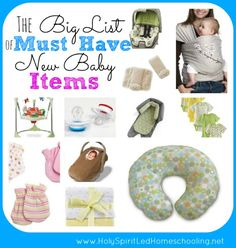 The Big List of Must Have New Baby Items: See the items needed for new baby, baby shower gift ideas, and more!