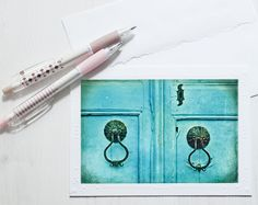 Blank Photo Note Card, Greeting card, Blank Cards with Envelopes, Handmade photo greeting card, Blank Notecards, Old Blue Door Photography