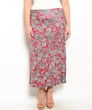 Dark Red Paisley Multi Color Maxi Midi Skirt Foldover Waist XL 2X 3X Rayon Knit