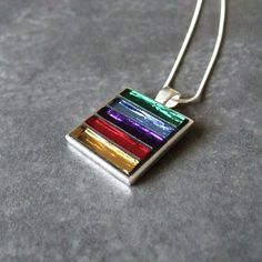 Rainbow Mosaic Pendant, Mosaic Necklace, Mirror Glass, Rainbow Colours, Various Chains To Choose From Mosaic Art, Mosaic Glass, Glass Art, Mirror Glass, Mirror Mosaic, Fused Glass Jewelry, Glass Necklace, Glass Pendants, Unusual Jewelry