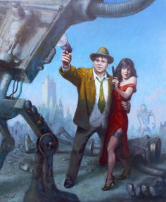 "Dave Lebow; Oil 2010 Painting "" Jack Black and his wife Tanya Haden as Robot Slayers"""