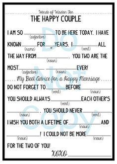 Marriage Advice Wedding Mad Lib Printable File by Press2Impress, $4.00