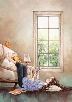 Illustrations By Korean Artist Show The Happiness And Tranquility Comes With Solitude Reading Art, Girl Reading, Reading Books, Forest Girl, Anime Art Girl, Cute Illustration, Korean Illustration, Magazine Illustration, Cute Drawings