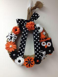 Halloween wreath sizzix Eileen hull flower flowers die cut felt buttons ribbon  happy halloween polkadots  owl pairofpetals.com