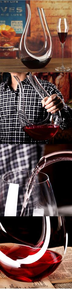 US$16.99 Luxurious Crystal Glass U-shaped Horn Wine Decanter Wine Pourer Red Wine Carafe Aerator