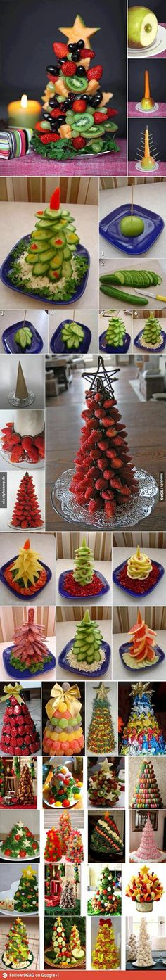 Edible Christmas trees for buffet tables made of various kinds of food - vegetables fruits . Fruit Christmas Tree, Noel Christmas, Christmas Goodies, Veggie Christmas, Xmas Trees, Summer Christmas, Christmas Tables, Christmas Chocolate, Christmas Images