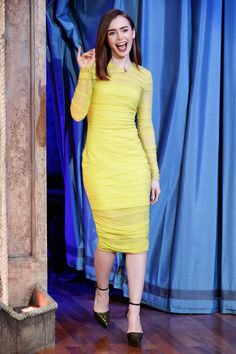 Fabulously Spotted: Lily Collins Wearing Versace - Late Night With Jimmy Fallon - http://www.becauseiamfabulous.com/2013/08/fabulously-spotted-lily-collins-wearing-versace-late-night-with-jimmy-fallon/