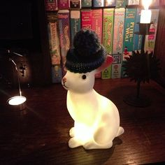woodland rabbit night light in a cap. #bunnyincognito
