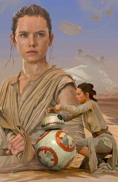 Star Wars: Rey and Star Wars Concept Art, Star Wars Fan Art, Daisy Ridley, Luke Skywalker, Chewbacca, Geeks, Film Trilogies, Star Wars Girls, Rey Star Wars