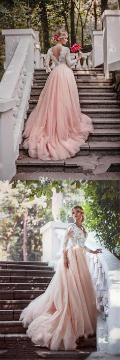 Discount Three Quarters Sleeves Country Blush Wedding Dress With Open V Back Wedding Gown Rental Ball Dresses Online From Bigear, $120.61| Dhgate.Com