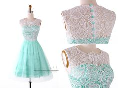 White Lace Mint Green Short Bridesmaid Dress/Knee Length Lace Bridesmaid Dress/Wedding Party Dress/Vintage White Lace Bridesmaid Dress EM805