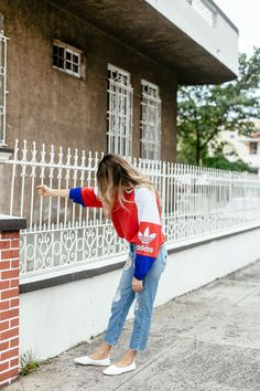 Browse the best sporty street style: outfit ideas and inspiration at @Stylecaster | 'A Constellation' blogger @maristellag's red, white, and blue adidas jacket