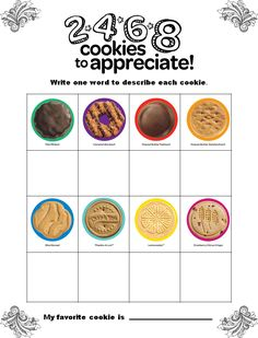 Girl Scout Cookie Sale Cookie taste test for troop. Write a word to describe cookie, choose favorite. Business Ethic training, know your product.