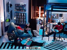 Fascinating Young Teenagers Bedroom Design Inspirations from IKEA: Modern Boys Room With Bunk Bed In Cool Design ~ bhuto.com Bedroom Inspira...