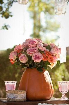 pumpkin and pink floral arrangments