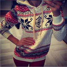 White Geometric Snowflake Print Hooded Thick Sportwear Casual Pullover Sweatshirt