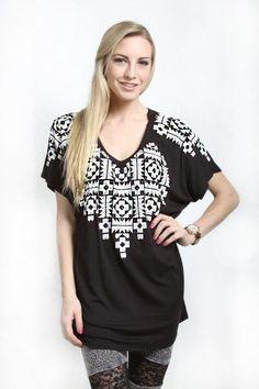 Vocal Inc> T-Shirts> 10978S-Black Dolman Short Sleeve Top w. Stone and Print Detail usfashionstreet.com