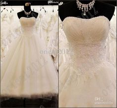 2013 Sexy Ball Gown Strapless Crystals Beaded Inexpensive Ivory Elegant wedding dresses bride dress