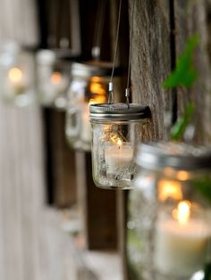 Yet another awesome mason jar DIY idea! Great for weddings or a cute way to pep up your backyard - give your event or home a bit of a romantic vibe on the cheap!