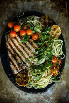 Meditteranean Pasta with Grilled Swordfish and Gremolata #glutenfree #fish
