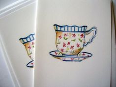Tea Cup Cards by whimsytwo on Etsy, $8.00
