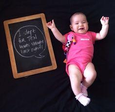 Blackboard chalk. Snapshot of baby's milestones!