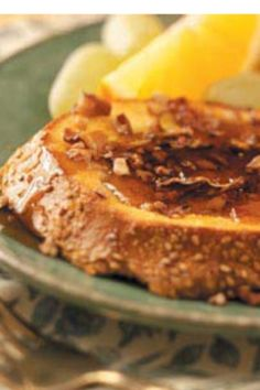 Butter Pecan French Toast French bread , 3 eggs ,1/2 cup milk or cream,Cinnamon  Vanilla, Brown sugar ,Butter  1/3 cup pecans and Butter pecan syrup. Mix eggs,cream,cinnamon and vanilla. Cook on heated skillet . Toast pecans butter and brown sugar in sauce pan. Butter the cooked French toast . Add pecans, heat syrup and enjoy !  Makes 6 slices