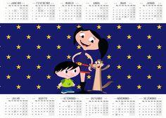Convite Calendário 2016 Personalizados Show da Luna Azul e Vermelho