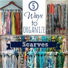 DIY Closet Organization Ideas for Messy Closets and Small Spaces. Organizing Hacks and Homemade Shelving And Storage Tips for Garage, Pantry, Bedroom., Clothes and Kitchen  |   5 Ways to Organize Scarves  |  http://diyjoy.com/diy-closet-organization-ideas