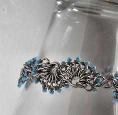 Beaded chain maille bracelet