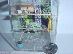 Dollhouse Miniature Pet Zebra Finch Aviary Cage w 6 Birds OOAK Handcrafted