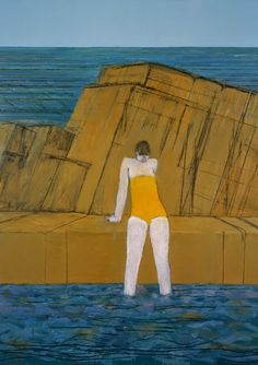 Title unknown (bather by the sea) by German-born, St. Ives-based artist Karl Weschke via pink pagoda studio Painting People, Figure Painting, St Ives, Figurative Art, Blue Yellow, Photo Art, Bathing, Eye Candy, Swimming