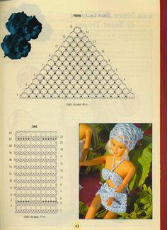 Blusinha e Short de Crochê Para a Barbie  Com Gráfico