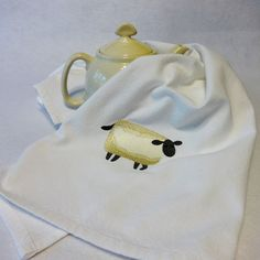 Cotton Hand Towel  Embroidered Towel Sheep Towel by eweniquelyewe