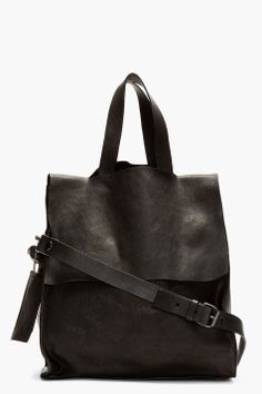 Marsll Black Grained Leather Modified Tote Bag