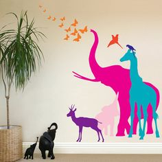 seven safari animal wall stickers by the bright blue pig | notonthehighstreet.com