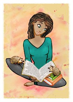 Hedgehogs and Girl Reading a Book  5x7 Print of by SaffronSwirl, $10.00