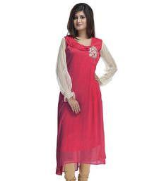Buy Pink Coloured Chiffon Kurti kurtas-and-kurti online