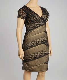 759bb388686 Another great find on  zulily! Black  amp  Nude Lace Tiered Dress - Plus