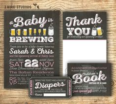 Coed baby shower invitation- Diaper shower - add on diaper raffle & bring a book cards - Couples beer bbq baby shower invitation