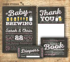 Coed baby shower invitation- Diaper shower - add on diaper raffle