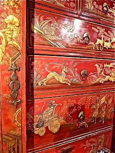 Chinese chest with gold dragon design