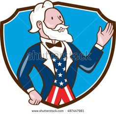 Illustration of Uncle Sam wearing american stars and stripes suit waving hand looking to the side viewed from front set inside shield crest on isolated background done in cartoon style.