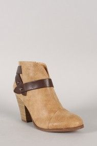 City Classified Brag-H Strappy Almond Toe Ankle Bootie