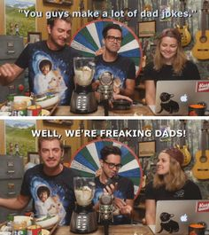 I love hearing about their wives and kids. It solidifies them as people and not just internet celebrities. Rhett And Link Wives, Good Mythical Morning, Funny Memes, Hilarious, Youtube I, Bob Ross, Having A Bad Day, Dad Jokes, Best Youtubers